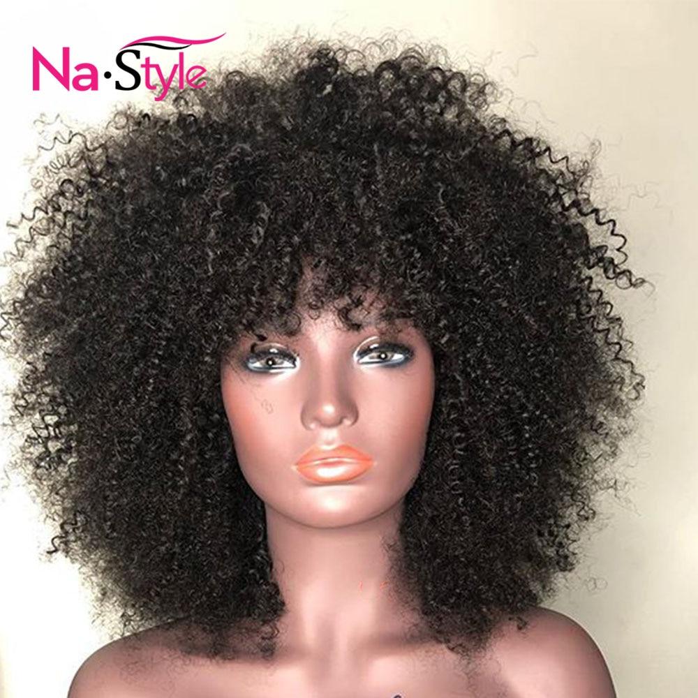 Afro crépus bouclés perruque avec frange partie profonde 13x6 dentelle avant perruques de cheveux humains pour les femmes noires courtes perruques de cheveux humains Bob mongol - 5
