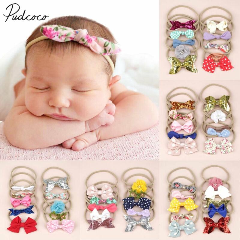 Детские аксессуары, 10 шт./компл., эластичная повязка на голову для маленьких девочек, нейлоновый головной убор для волос, реквизит для фотосе...