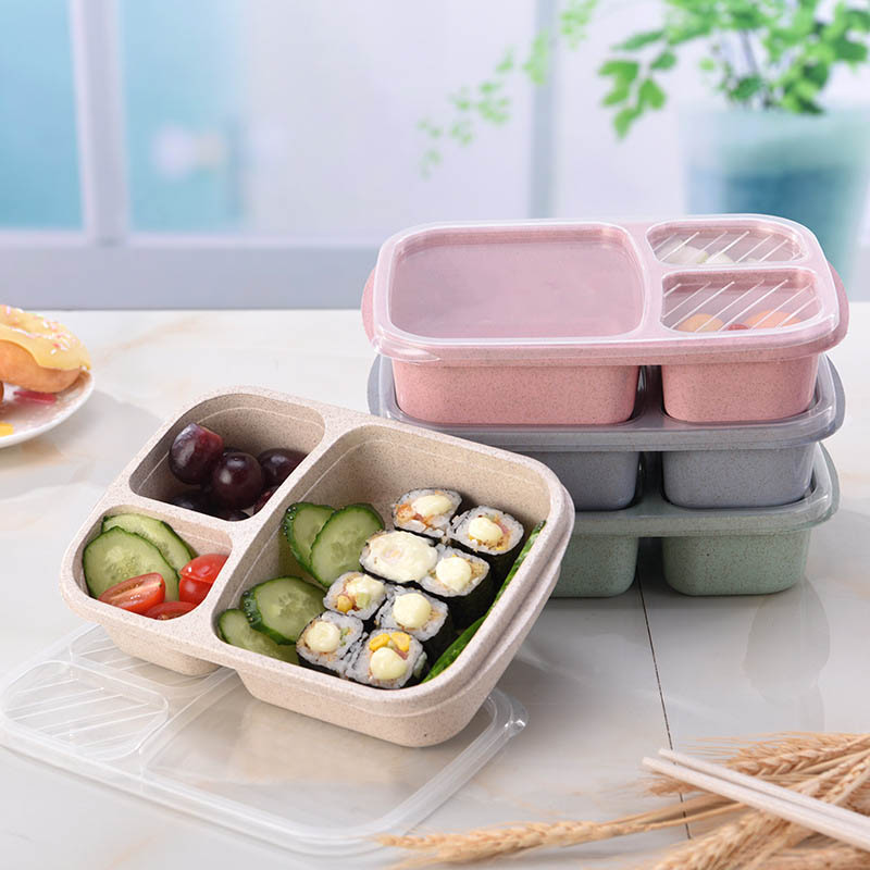 Biodegradable Microwave Bento Box School Food Containers Lunch Box  Wheat Straw Compartments Student Tools