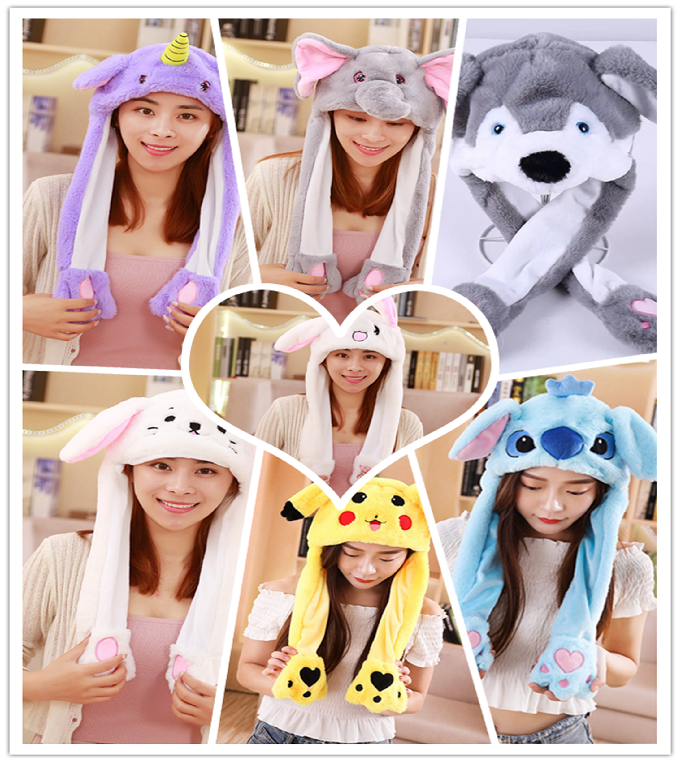 Hat Rabbit-Hat Birthday-Gift Moving Funny Kids Kawaii Ears Girls Cute Cartoon for Toy title=