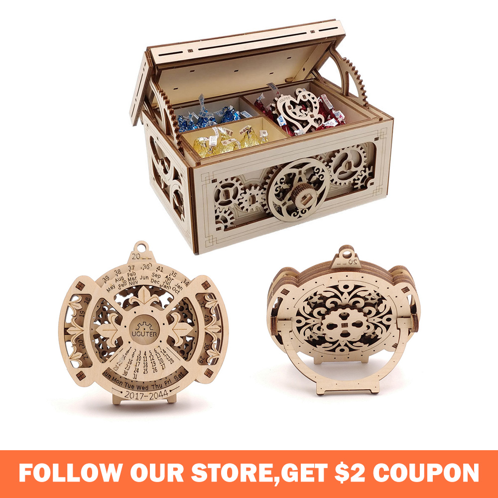 Wooden Toys 3D Puzzle Perpetual Calendar Educational Toys Creative Treasure Box DIY Laser Cutting Mechanical Puzzles For Kids