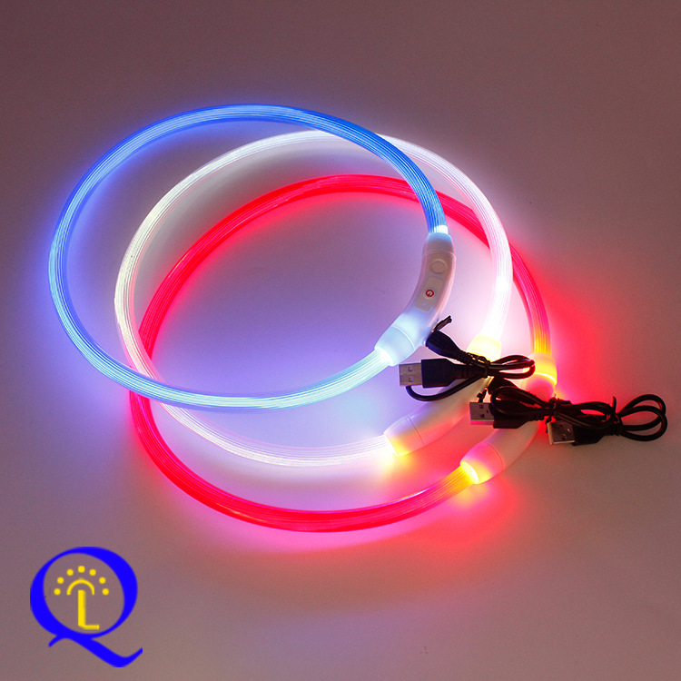 USB Charging Pet Collar Dog Multi-functional Flash Necklace LED Dog Luminous Collar Dongguan Mixed