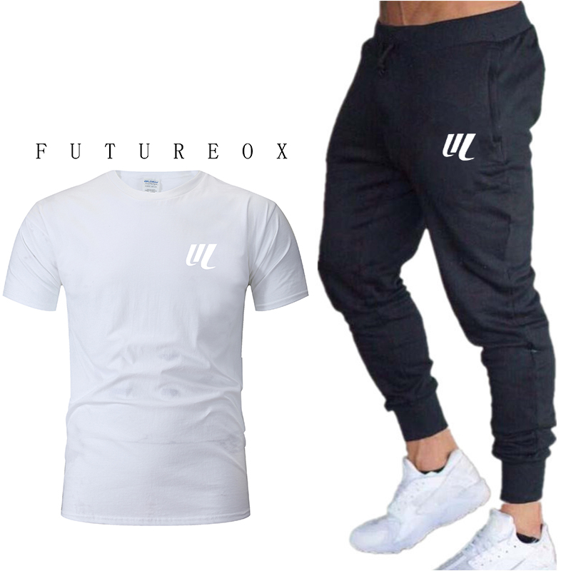 2020 New Jogging Pants Men's Short-sleeved Sportswear Basketball Game Fitness Clothing 2 Pieces / Set Of Men's T-shirt Sports Su