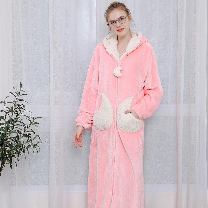 Femmes bleu rose gris décontracté hiver flanelle maison chaud vêtements de nuit Europe femme corail velours belle étoile en vrac longues Robes à capuche - 3
