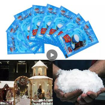 Sztuczny śnieg sztuczny śnieg puszysty nietoksyczny proszek do recyklingu natychmiastowy Prop śnieg świąteczny wesele puszysta biała dekoracja tanie i dobre opinie CN (pochodzenie) Proszku śniegu Absorbent resin About 9*6 5cm As Picture