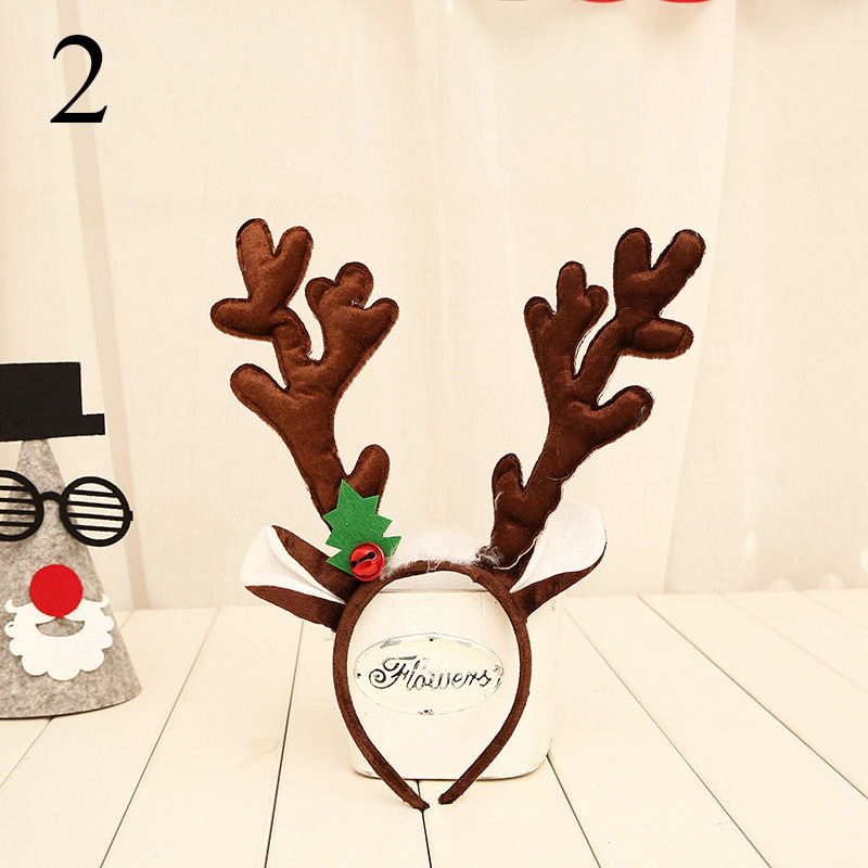 1 шт. рождественские украшения большие оленьи рожки на ободке рога Рождественские с рогами оленя повязка на голову рождественские аксессуары для волос для взрослых - Цвет: 2