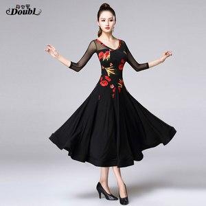 Image 4 - Doubul saia moderna mais magro na cintura vestido de dança de salão de baile padrão nacional valsa tango competição traje franja espanhol
