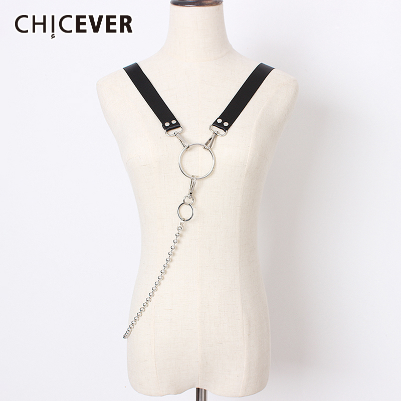 CHICEVER Summer PU Leather Chain Patchwork Belts For Women Vintage Dresses Accessories Belt Female Fashion New 2020 Korean