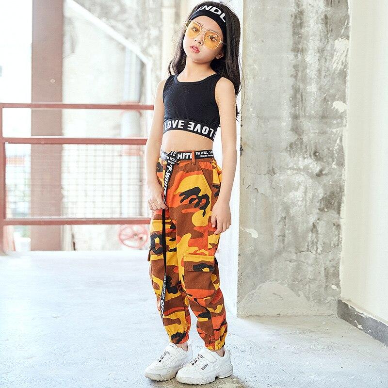 Children Jazz Costumes Children Women's Autumn Navel Modern Girls Bboy Hip Hop Camouflage Long Pants Fashion