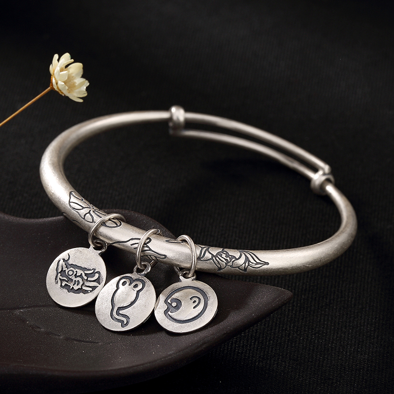 925 Sterling Silver Lotus Xiang yun 12 Zodiac Lady Bracelet Triple Valentine Carved Lotus Push pull Bracelet in Bracelets Bangles from Jewelry Accessories