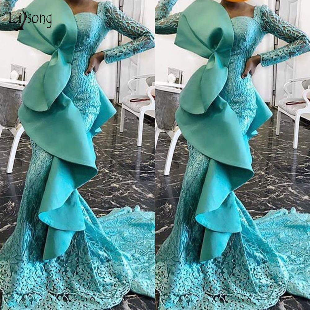 Turquoise Flower Lace Mermaid Prom Dresses Beaded Ruffles Full Sleeves Prom Gowns Aso Ebi Long Gonna Formal Dress Vestido Longo