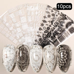 Stickers Nail-Foil Flower-Transfer Butterfly Decal-Sliders Designs White Black Mix