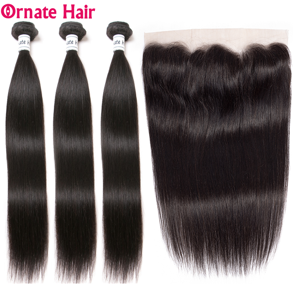 Ornate Brazilian Straight Hair Bundles With Frontal Human Hair Weave 4 Bundles With Ear To Ear Lace Frontal Closure Non Remy-in 3/4 Bundles with Closure from Hair Extensions & Wigs    1
