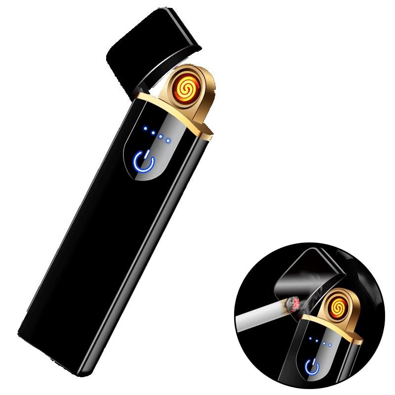 Windproof Cigarette Lighter Gift Smokeless Flameless USB Charging Lighter Electronic Cigarette Lighter Smoking Accessories