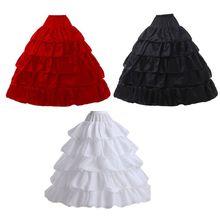 5 Layer Lotusblad Rok Bruid Trouwjurk Petticoat Lolita Trekkoord Verstelbare Hoge Taille Lange Chemise