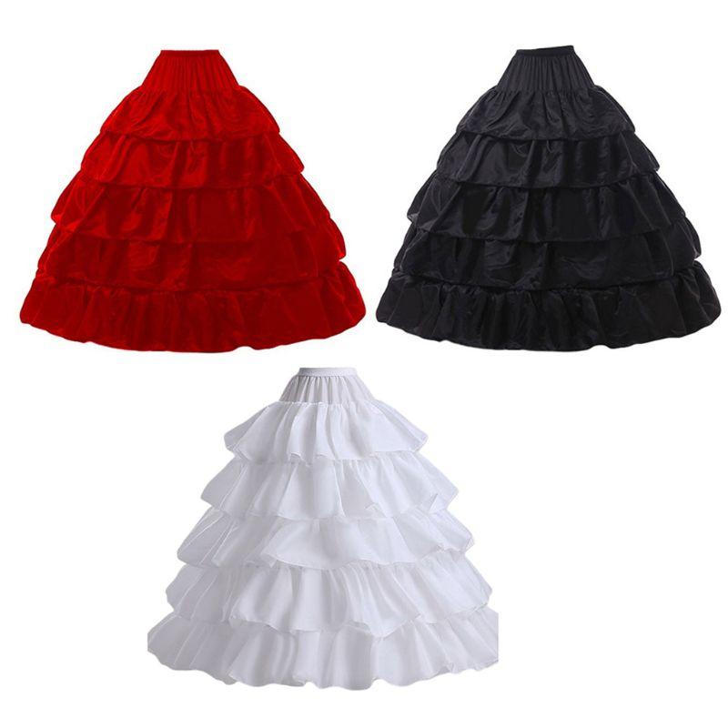5-layer Lotus Leaf Skirt Bride Wedding Dress Petticoat Lolita Drawstring Adjustable High Waist Long Chemise