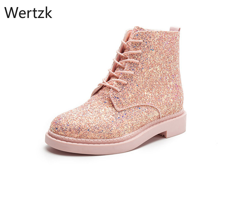 2019 Designers Brand Women Ankle Boots Heels Female Shoes Woman Autumn Glitter Lace up Boots Casual Bling Pink Black White B235 image