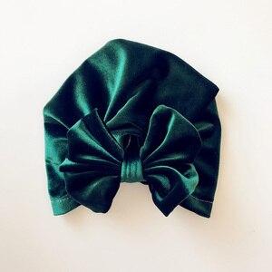 Image 5 - Chapéu indiano de veludo de ouro das crianças bowknot muçulmano gorro boné elástico macio meninas turbante crianças cabeça envoltório moda headwear
