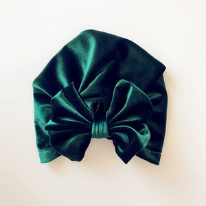 Image 5 - Childrens Gold Velvet Indian Hat Bowknot Muslim Beanie Cap Elastic Soft Girls Turban Kids Head Wrap Fashion Headwear
