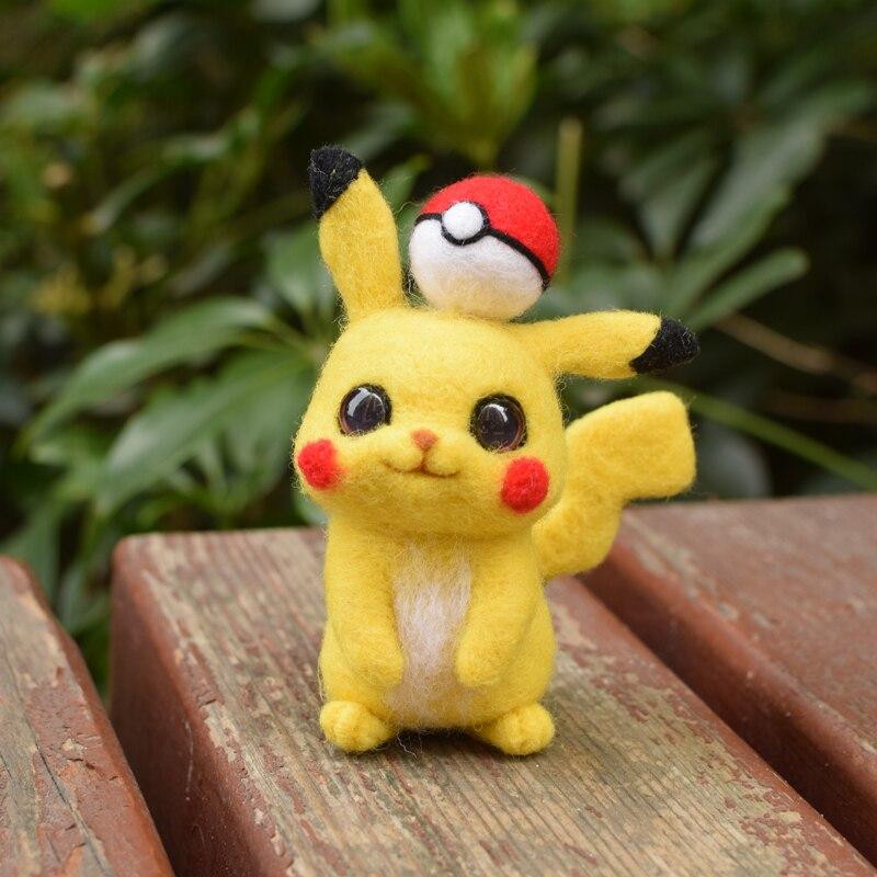 DIY No Finished Kids Pikachu Cartoon Animal Wool Needlepoint Kit Wool Felt Needle Felting Decoration Craft Handmade Gift 2020