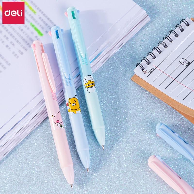 Deli разноцветная шариковая ручка 1 шт. KAKAO FRIENDS 4 цвета в 1 шариковая ручка Милая Корейская искусственная ручка 0,7 мм