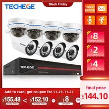 Techege 8CH 1080P POE NVR kit 2MP Audio PoE IP Camera H.265 CCTV System Outdoor Waterproof  Email Alert Video Surveillance Kit