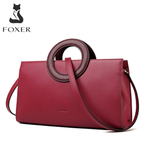 Image 1 - FOXER Lady Elegant Hand Bags Cowhide Women Stylish Shoulder Bag Leather Tote Female Luxury Messenger Bag Fashion Brand Bag Purse