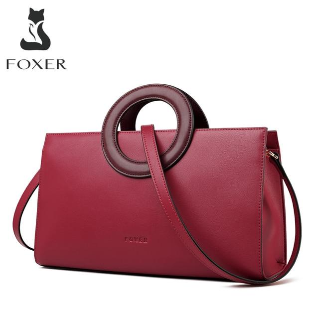 FOXER Lady Elegant Hand Bags Cowhide Women Stylish Shoulder Bag Leather Tote Female Luxury Messenger Bag Fashion Brand Bag Purse