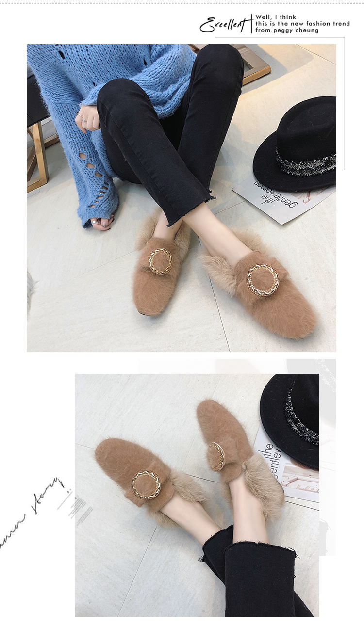 All-Match Shoes Woman 2019 Dress Flats Women Shallow Mouth Loafers Fur Modis Women's Moccasins Round Toe Casual Female Sneakers 41
