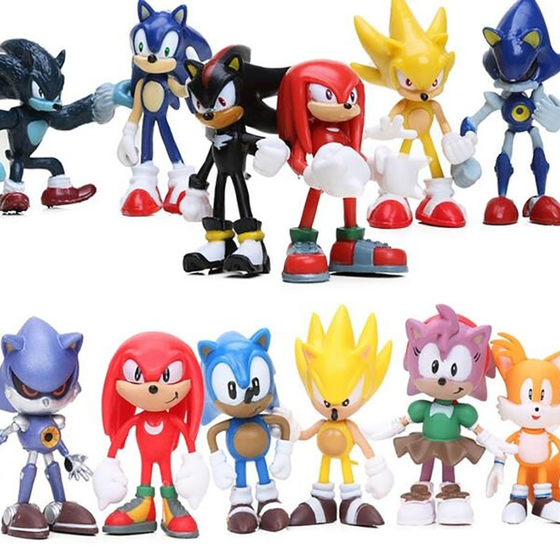 Set Of 12 Sonic Figures Toy Sonic The Hedgehog Shadow Knuckles Tails Amy Super Sonic PVC Action Figure Model Dolls Kids Toys