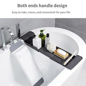 Extendable Bathroom Shelf Bathtub Tray Shower Caddy Bamboo Bath Tub Rack Towel Wine Book Holder Storage Organization Accessories(China)
