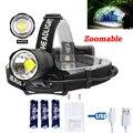 1800лм XHP70 светодиодный масштабируемый фонарь белый светодиодный налобный фонарь USB Перезаряжаемый фонарь для охоты кемпинга Powerbank + 3*18650 + зар...