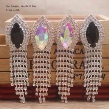 Large rose gold black Rhinestone earring AB Crystal Long Tassel Earrings for Women high-grade Drop Dangling Jewelry