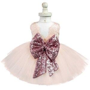 Рождественский костюм для девочек; Вечерние платья принцессы с кружевом и большим бантом на день рождения для От 1 до 5 лет; Платье на крестин...