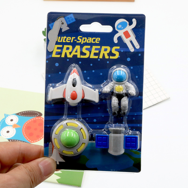 4 Pcs/set Creative Boy Flying Saucer&alien&spaceship Shape Rubber Eraser Kawaii Stationery School Supplies Papelaria Kids Gift