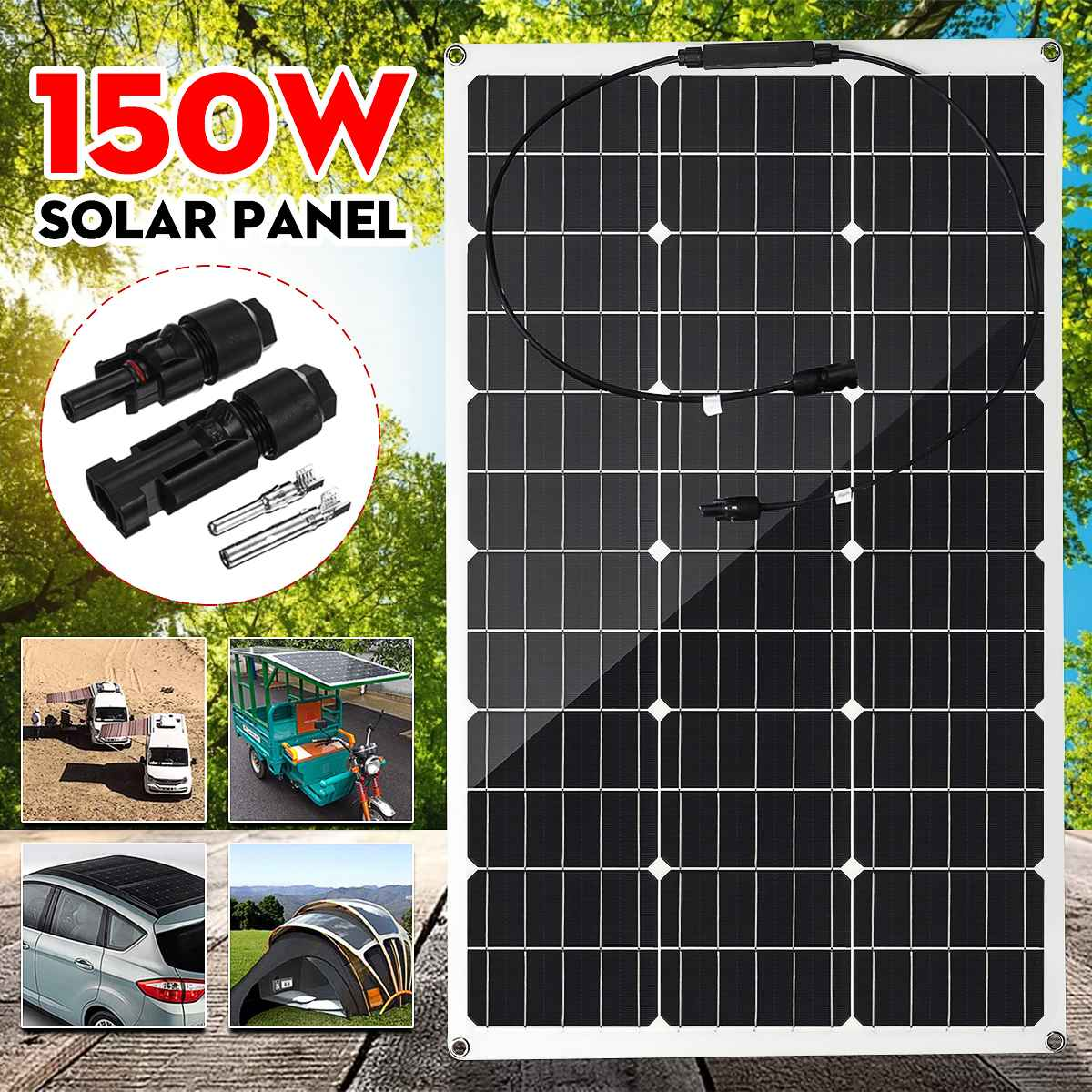 Panel Solar de 300W/150W, Cable de módem Solar semiflexible de 18V para coche, yate, luz, batería, conector para exteriores, cargador de batería Wallpad L6, toma de corriente blanca cuádruple de 4 vías, enchufe alemán de la UE, toma de corriente Schuko, toma de pared con Panel de vidrio templado de 344x86mm, 4 puertos, 4 entradas