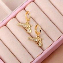 Boucles d'oreilles Punk pistolet pour femmes, couleur or, petits pendentifs en métal, personnalité strass, accessoires bijoux