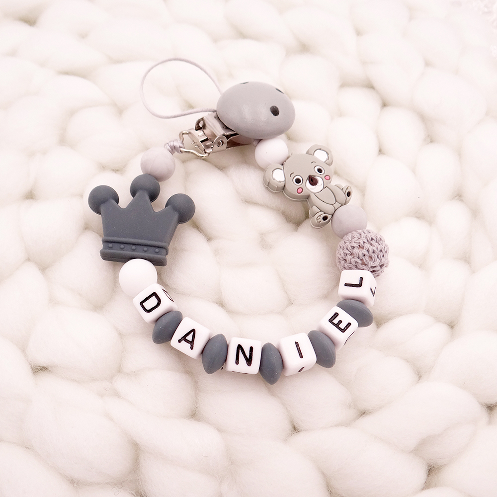 New Handmade Free Personalized Name Pacifier Clips Koala Pacifier Chain Holder Chupetero Personalizado Silicona Baby Shower Gift