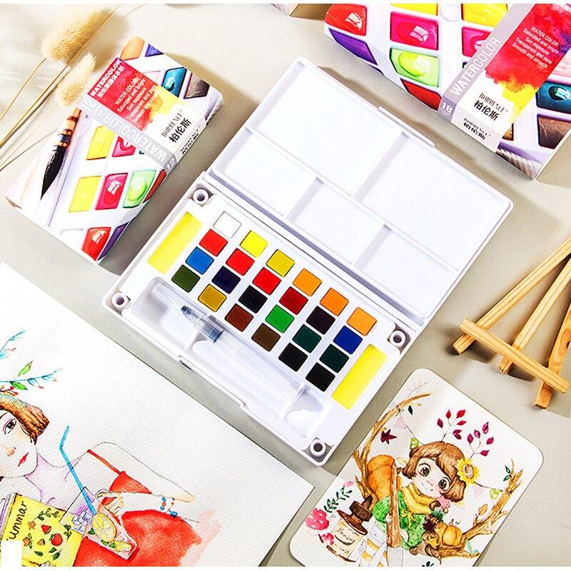 Портативный дорожный твердый пигмент 12/18/24/36 цветов, Набор цветных красок с кисточкой для воды, ручка для рисования, товары для рукоделия
