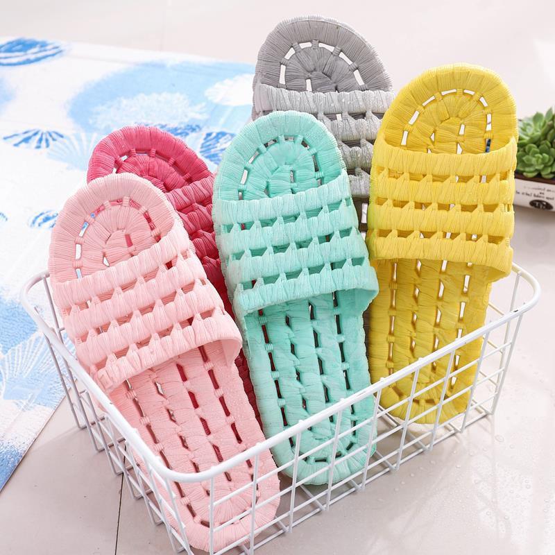 Home Slippers Bath Leaky Slippers Slides Mens Shoes House Slippers Couple Bathroom Anti-slip Hollow Soft Bottom Four Seasons