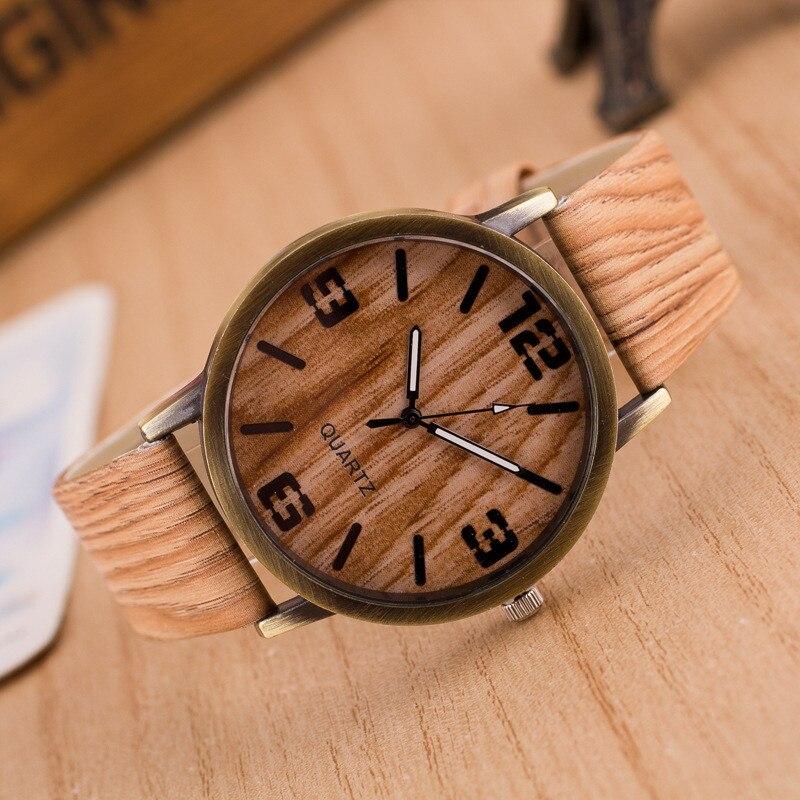 Fashion Watches Women Men Quartz Wristwatches Casual Wooden Color Leather Strap Wood Watch Reloj Mujer Women Watch Montre Homme
