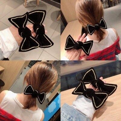 1PC Retro Velvet Bow Knot Female Ponytail Elastic Hair Bands Girls Hair Pins Head Bands Women's Hair Accessories HeadWear