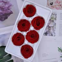 Preserved Flower Immortal Rose Flower 5-6CM Mothers Day DIY Gift Eternal Life Flower Valentine Wedding Material Level B 6pcs/box