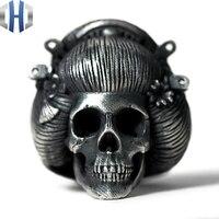 Original Design Handmade Silver Geisha Ring Wild skull Ring 925 Silver Ring