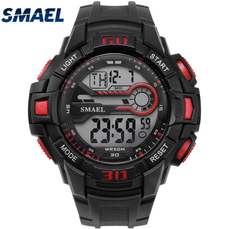 Men's sport watch Running Swimming Military Digital watche 50m waterproof relojes hombre Big Dial Digital Army Green LED Watches