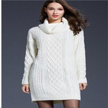 цена на Babbytoro Women's Sweater Winter Warm Long Sleeve Turtle Neck Knit Xmas Sweaters Dress Plus Size 4xl 3xl White Navy Brown Red