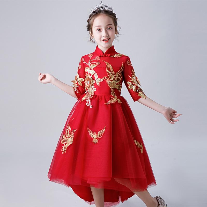 Chinese Style Dresses Of Bride Fellow Kids Small Host Late Formal Dress Girls Princess Skirt CHILDREN'S Piano Costume Puffy Yarn