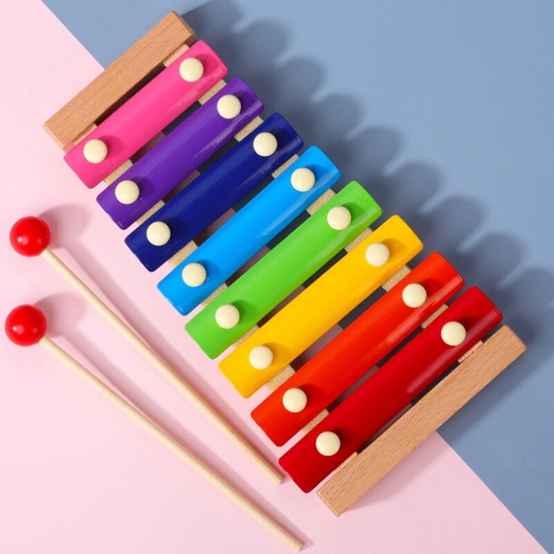 Xilófono de juguete nuevo de 2020 para niños, juguete educativo de madera con marco de ocho notas, xilófono para niños, juguetes musicales divertidos para bebés