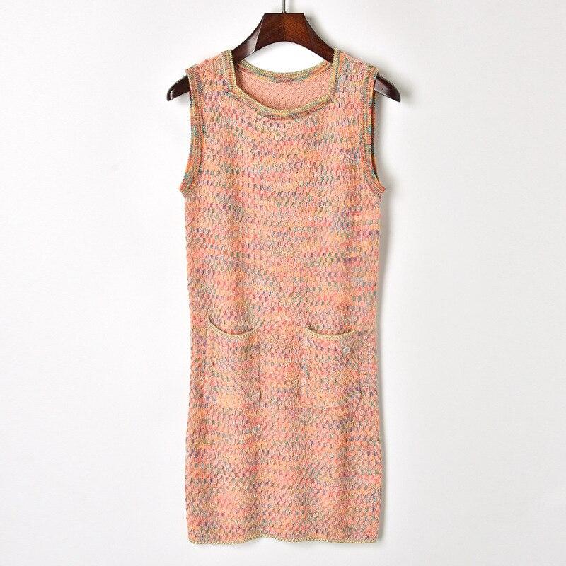 Nouveauté Song Yicai ligne col carré deux poche tricot gilet sans manches tricot robe femme été W80526.