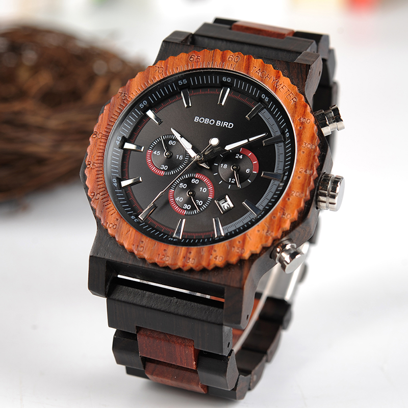 BOBO BIRD 51mm Big Size Men Watch Wood Luxury Chronograph Wristwatch Quality Quartz Movement Calendar Relogio Masculino J R15